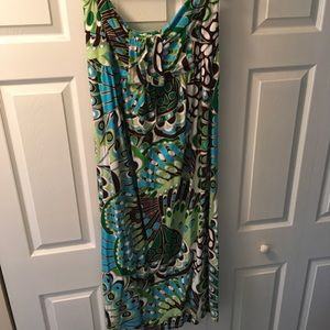 Old Navy Strapless Maxi Dress, Peacock Colors